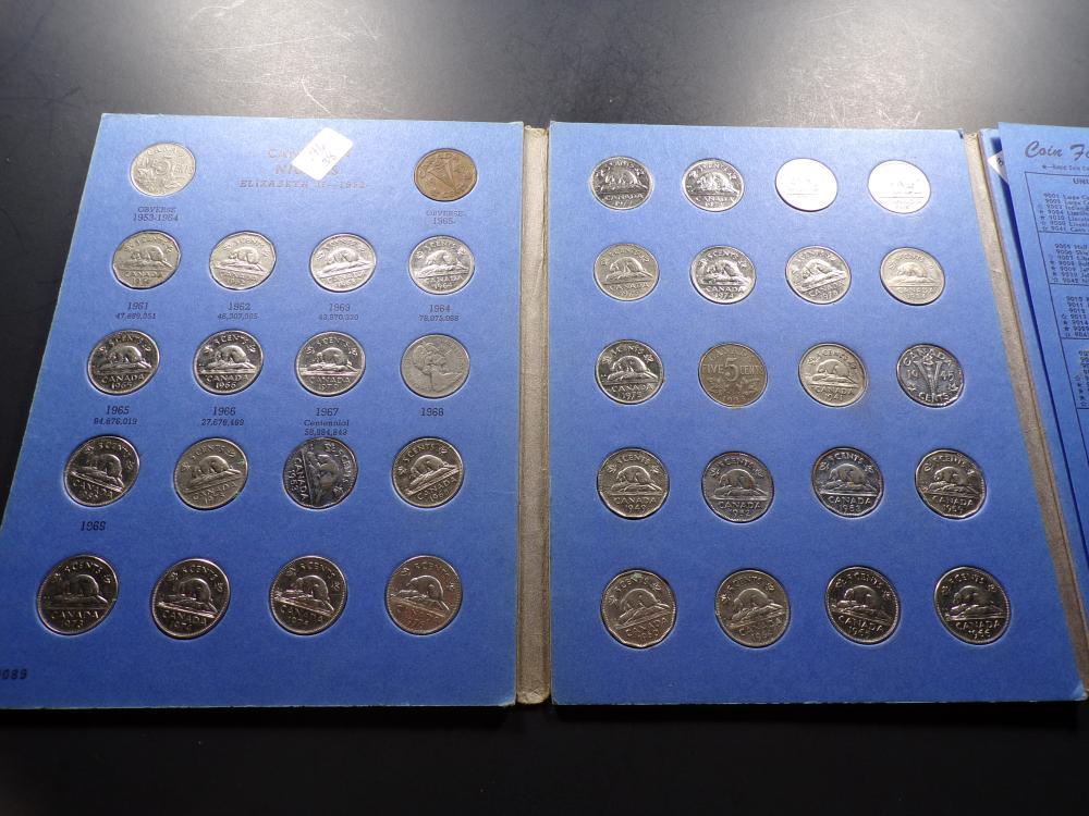 Canadian Nickel Variety Album Set - Date Range 1923 - 1984 & BONUS Buffalo & Jefferson Nickels! (56 pcs)