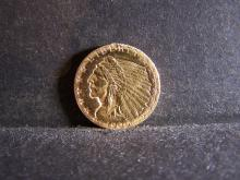 1909 $2.5 Gold Indian Head Quarter Eagle.  Bright & Flashy ex-jewelry piece.