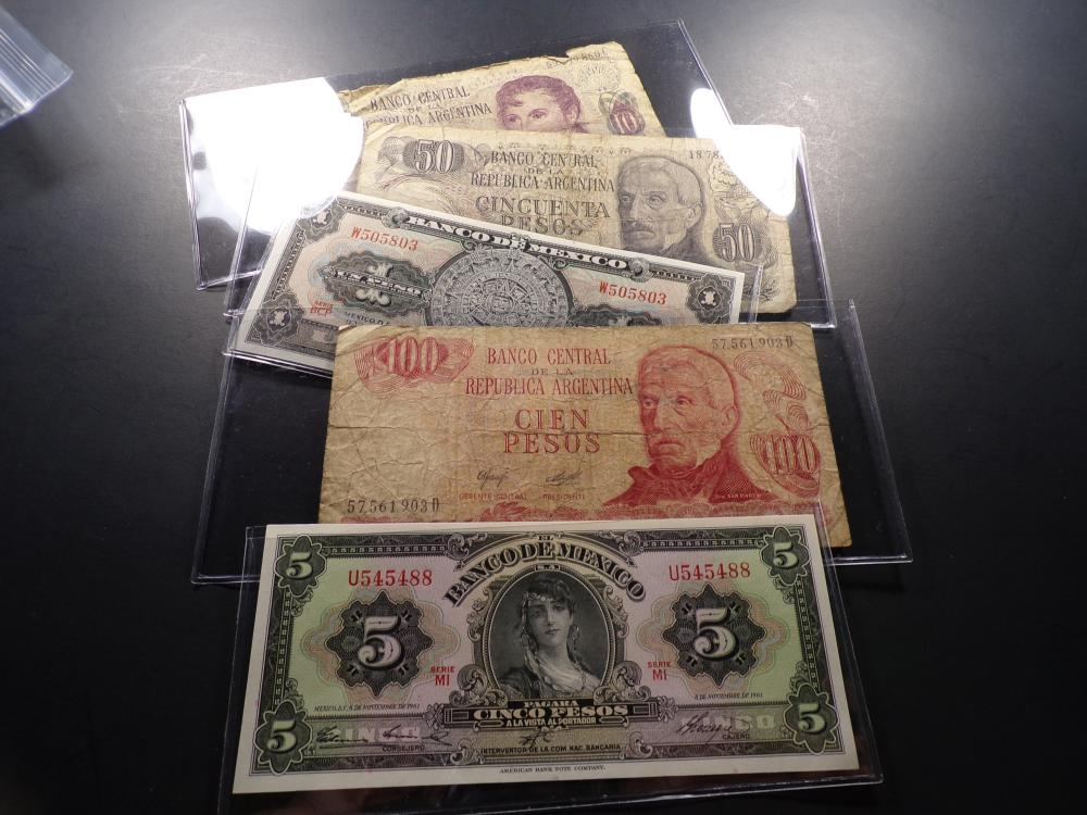 Small Group of Mexican and Argentine Paper Currency (5 pcs)