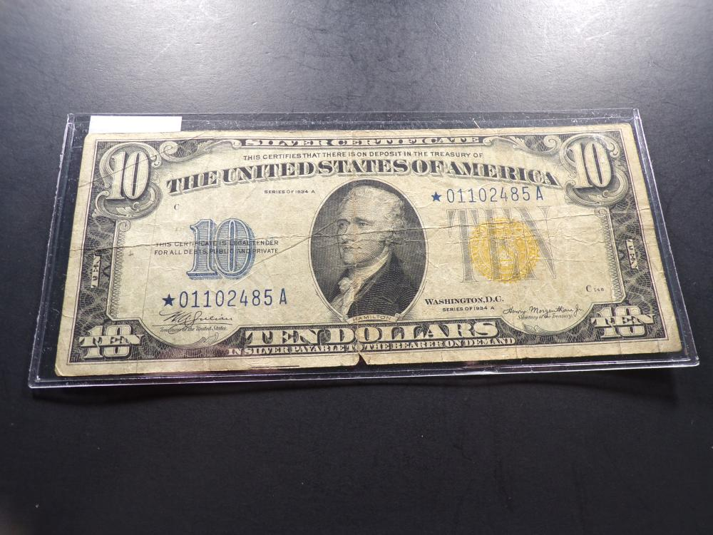 """1934 A Series $10 """"North Africa"""" **STAR NOTE** Nice Circ Example!!"""