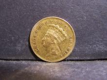 1855 $3 Gold Indian Princess.  XF obv scratch