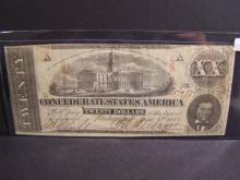 1863 Confederate $20 Currency.  Very popular piece with strong demand!