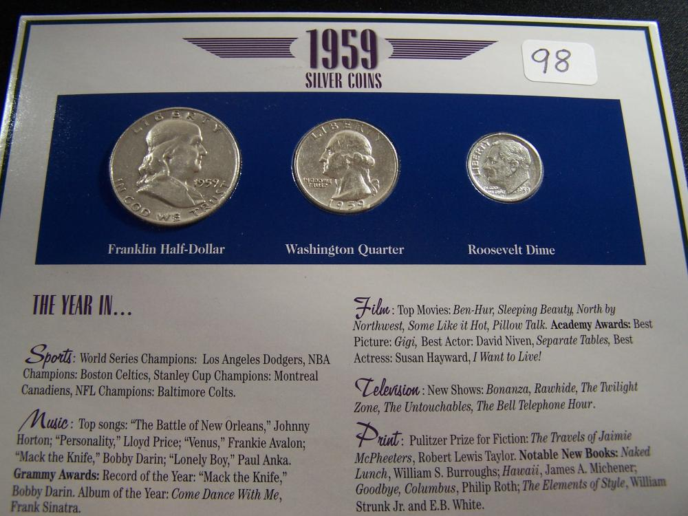 Lot 98 1959 YEAR SILVER 3 COIN SET RARE