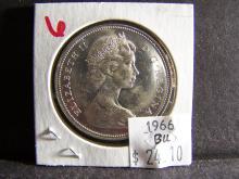 1966 BRILIIANT UNCIRCULATED CANADA SILVER DOLLAR