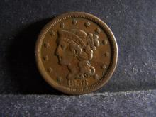 1856 BRAIDED HAIR LARGE ONE CENT (GREAT DETAILS !!!!!!!!!!!!!)