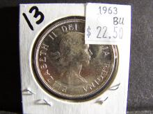 1963 BRILLIANT UNCIRCULATED CANADA SILVER DOLLAR