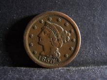 1850 BRAIDED HAIR LARGE ONE CENT (GREAT DETAILS !!!!!!!!!!!!!!)