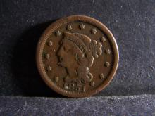 1851 BRAIDED HAIR LARGE ONE CENT (GREAT DETAILS !!!!!!!!!!!!!!!)