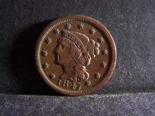 1847 BRAIDED HAIR LARGE ONE CENT (GREAT DETAILS !!!!!!!!!!!!!!)