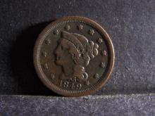 1849 BRAIDED HAIR LARGE ONE CENT (GREAT DETAILS !!!!!!!!!!!!!!!)