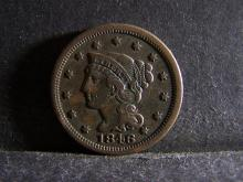 1846 BRAIDED HAIR LARGE ONE CENT (GREAT DETAILS !!!!!!!!!!!!)