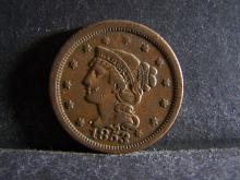 1853 BRAIDED HAIR LARGE ONE CENT (GREAT DETAILS !!!!!!!!!!!!!!)