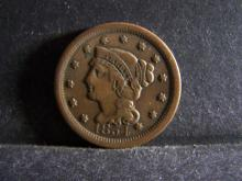 1854 BRAIDED HAIR LARGE ONE CENT (GREAT DETAILS !!!!!!!!!!!!!!)