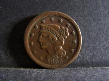 1855 BRAIDED HAIR LARGE ONE CENT (GREAT DETAILS !!!!!!!!!!!)