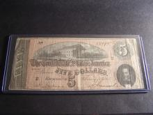 FEB 17TH 1864 CONFEDERATE STATES RICHMOND $5 DOLLARS (VERY RARE CURRENCY !!!!!!!!!!!!!!)
