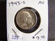 1945-S Washington Quarter.  AU.