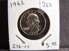 1962 Silver Proof Washington Quarter.