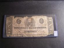 1863 CONFEDERATE STATES $1 DOLLAR (VERY RARE CURRENCY !!!!!!!!!!!!!!!!!)