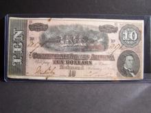 1864 AU+ $10 CONFEDERATE STATES OF AMERICA BILL (AU+ DETAILS / RARE CURRENCY !!!!!!!!!!!!!!!)