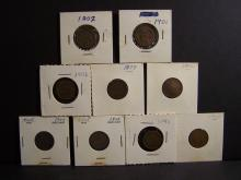 BAG OF 9 INDIAN HEAD CENTS RANDOM DATES AND CONDITIONS