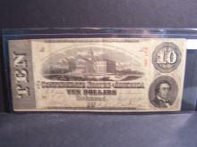 1863 Series $10 Confederate Currency.  Crisp Paper!