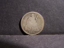 1891-O SEATED DIME (GOOD DETAILS !!!!!!!!!!!!!)