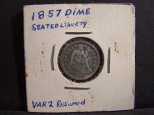 1857 Seated Liberty Dime.