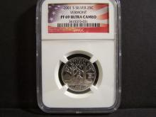 2001-S 90% Silver Proof Quarter.  Vermont.  NGC  PF69 Ultra Cameo.