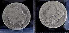 1883  & 1879 Morgan silver dollars  fair cond.