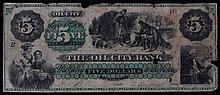 1864 Five Dollar Oil City Bank  of Pennsylvania