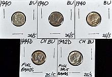 U.S. Mercury Dimes 1940(3), 1942D, 1944D BU To CH