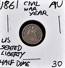 1861 U.S. Seated Liberty Half Dime AU