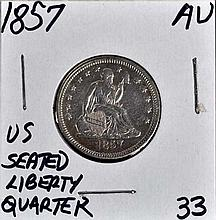 1857 U.S. Seated Liberty Quarter AU Nice Type