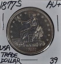 1877-S U.S. Trade Dollar AU+ Sharp