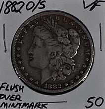 1882-O/S Morgan Dollar VF Flush Overmintmark