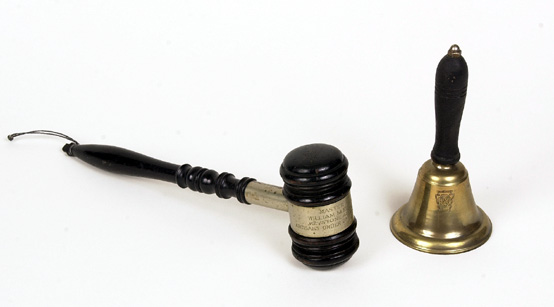 Antique PRR brass bell and Artisan's gavel (2)
