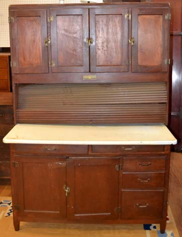 Roll top hoosier cabinet (as -is) natural finish
