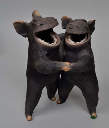 Pogs Art Raku pottery by Mary Drewry Garber