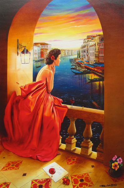 ORLANDO RAFAEL QUEVEDO LADY IN VENICE LIMITED ED. HAND SIGNED GICLEE ON CANVAS
