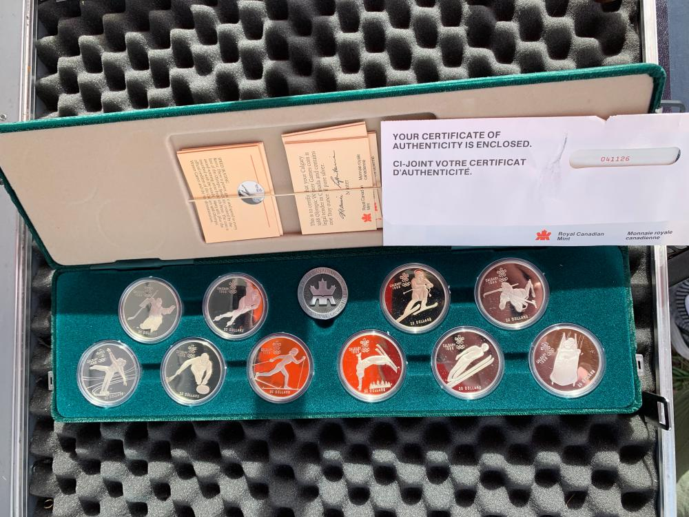 Calgary 1988 Proof Olympic Winter Games Silver Royal Canadian Mint Set Fine Silver