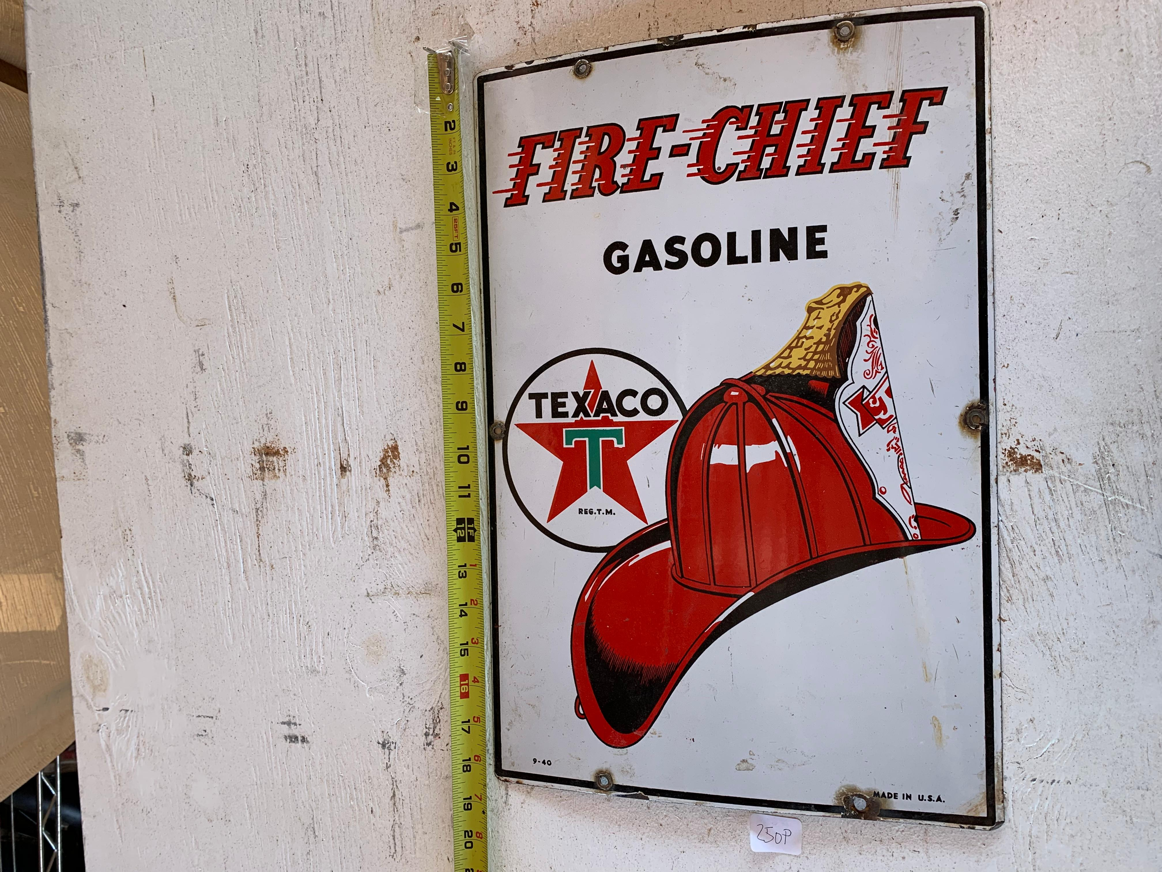 Genuine Original Porcelain Fire Chief Gasoline Texaco Pump Sign Dated 9-1940 Shows Signs of Rust Around Drill Holes, Minor Chips and Wear 18'' L