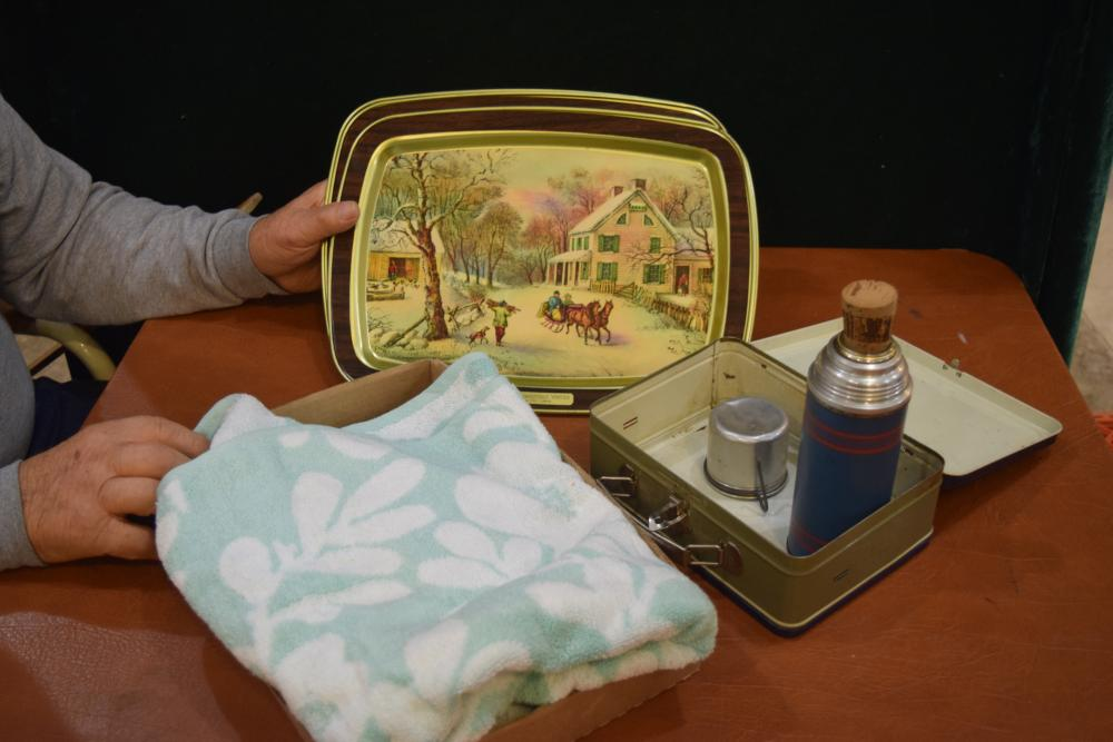 Serving Tray, Lunch Box & Towel