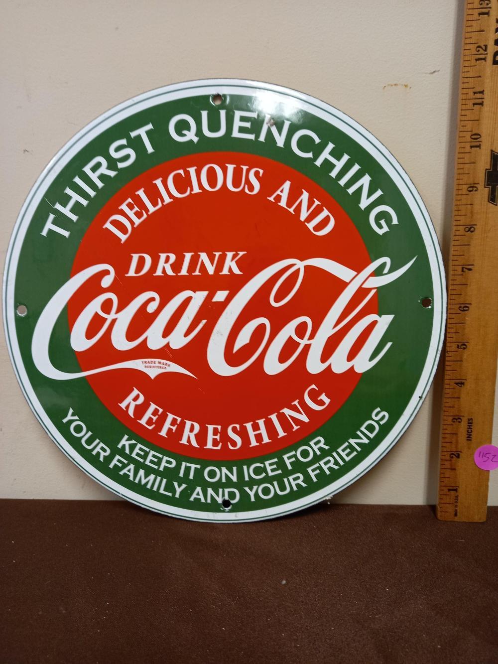 Porcelain Coca Cola Delicious & Refreshing Sign