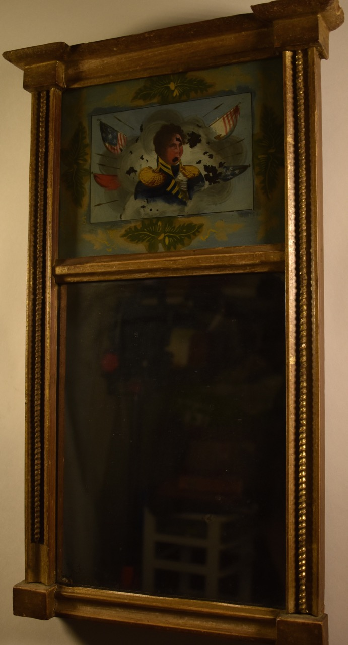 Small eglomise mirror with 1812 image perhaps hull for Furniture auctions uk