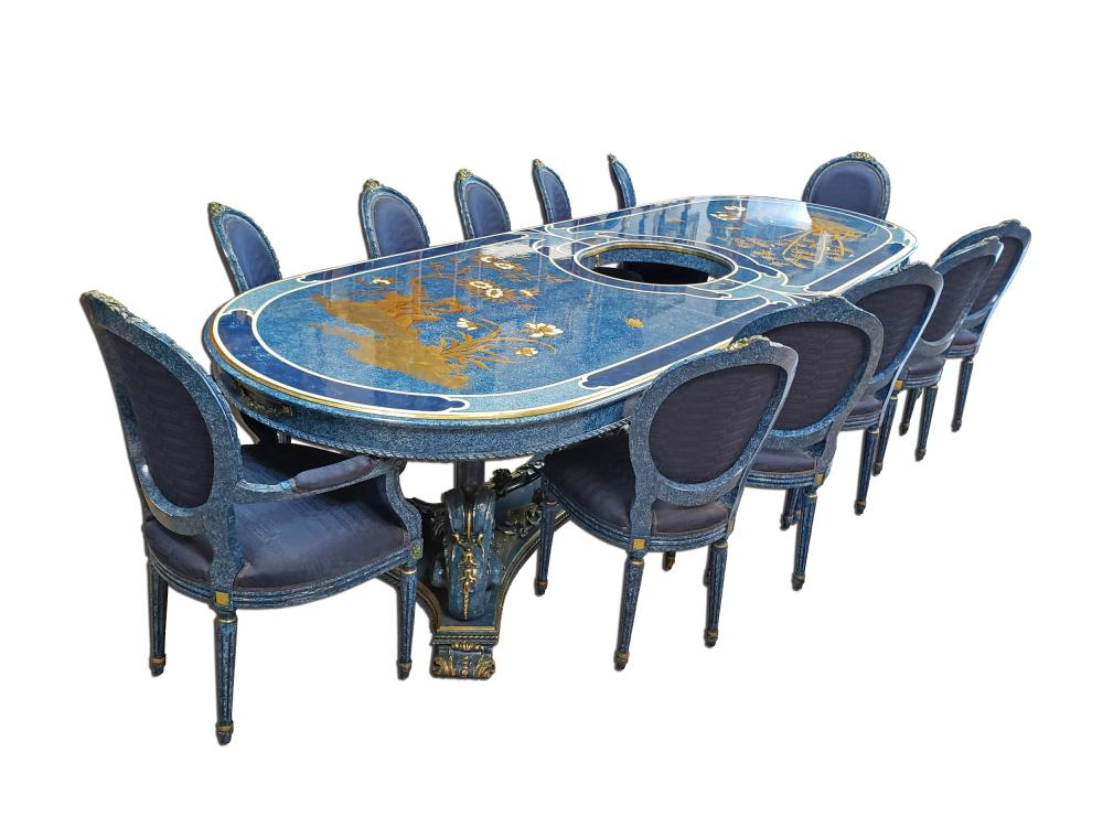 Sold Price Magnificent Large Custom Italian Hand Painted Dining Table W Glass Top March 3 0120 11 30 Am Pdt