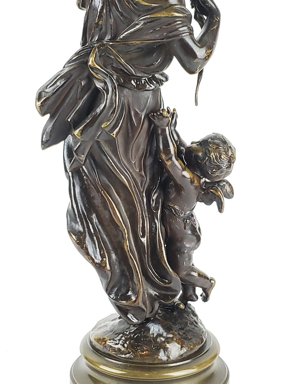 19th C Bronze Statue Of Woman Archer Signed Moreau