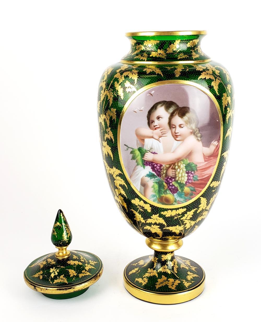 Large 19th C Bohemian Handpainted Crystal Gilt Vase
