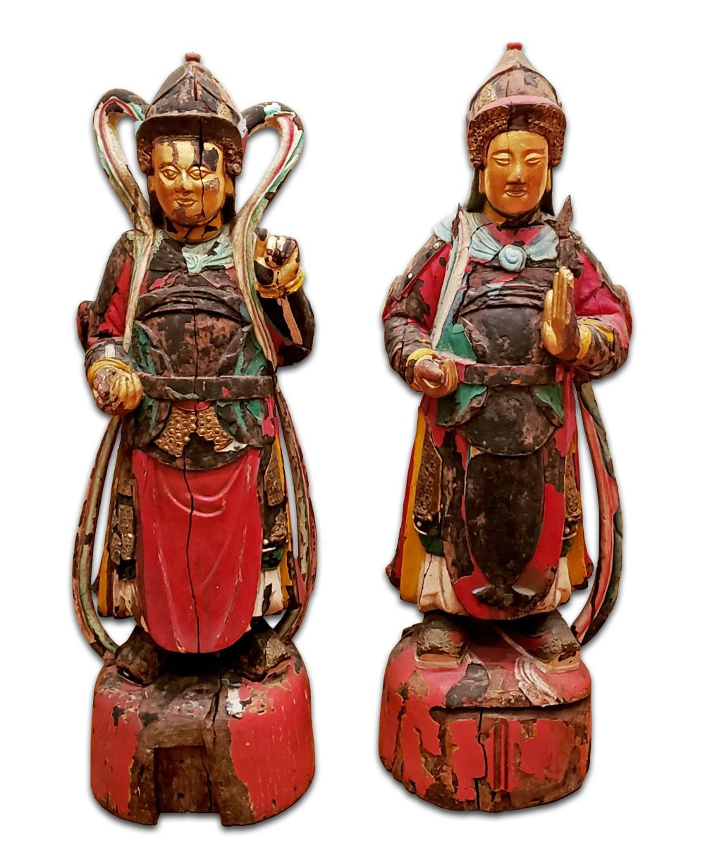 Pair of Magnificent 12th C. Hand Carved Gilt Polychrome Buddha Guard Statues