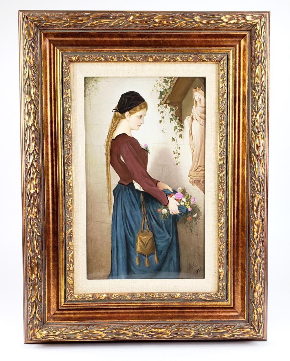 Magnificent 19th C. KPM Plaque of Marguerite