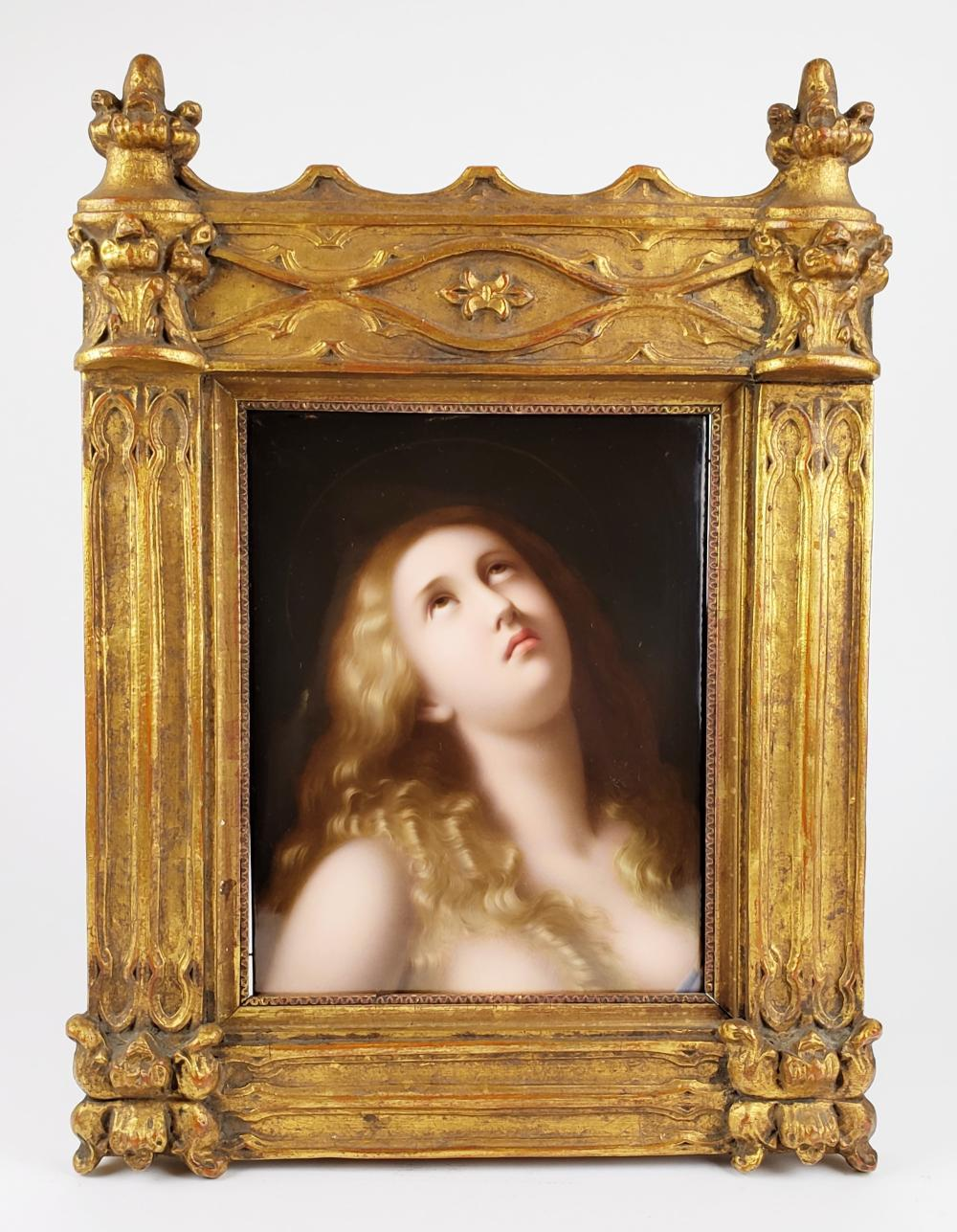 Exquisite 19th C. KPM Plaque of Nude Woman in Giltwood Frame